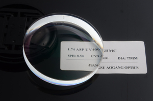 The thinnest and lightest uncut top quality optical lens 1.74 high index ASP UV400 SHMC prescription rx ophthalmic lenses