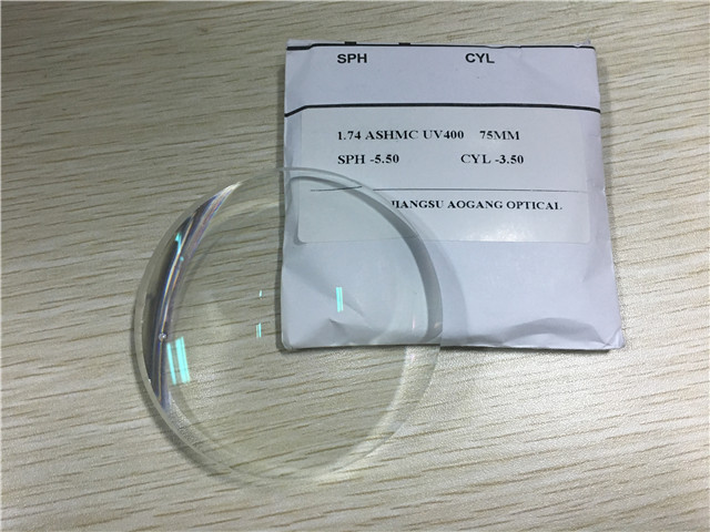 High Index 1.74 Super Hydrophobic Coating Cr39 Single Vision Ultra Thin Prescription Lenses